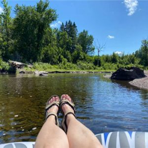 feet floating on the river